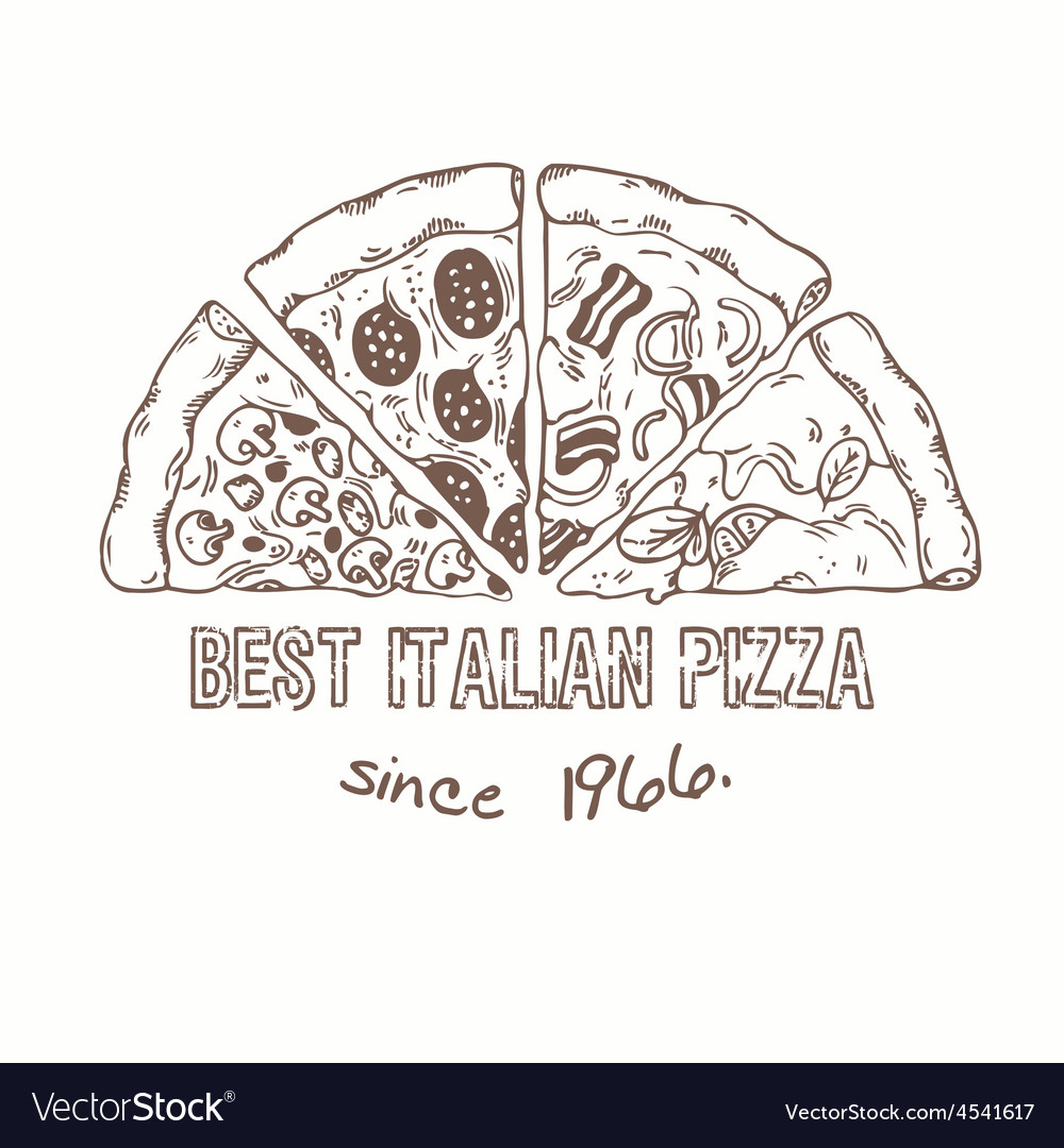 Half of pizza with different slices sketched vector | Price: 1 Credit (USD $1)