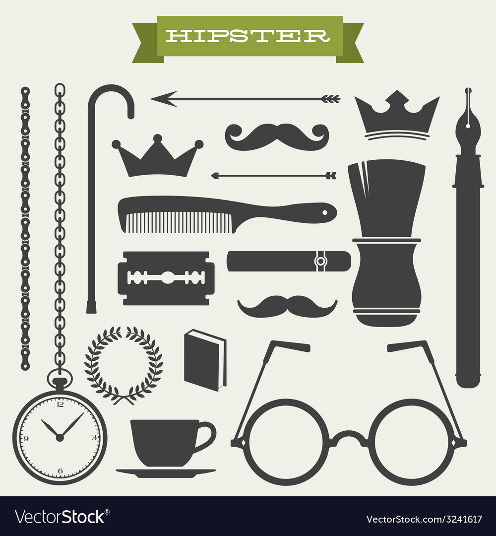 Hipster icon set vector | Price: 1 Credit (USD $1)