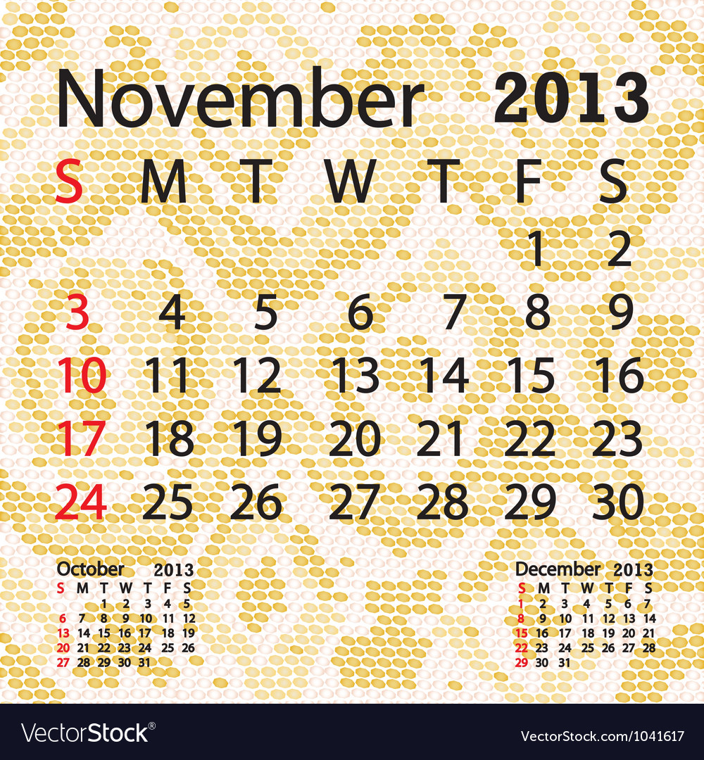 November 2013 calendar albino snake skin vector | Price: 1 Credit (USD $1)
