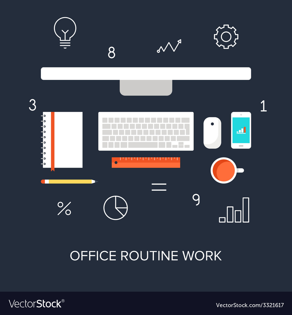 Office routine work vector | Price: 1 Credit (USD $1)