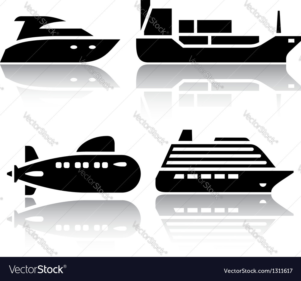 Set of transport icons - water transport vector   Price: 1 Credit (USD $1)
