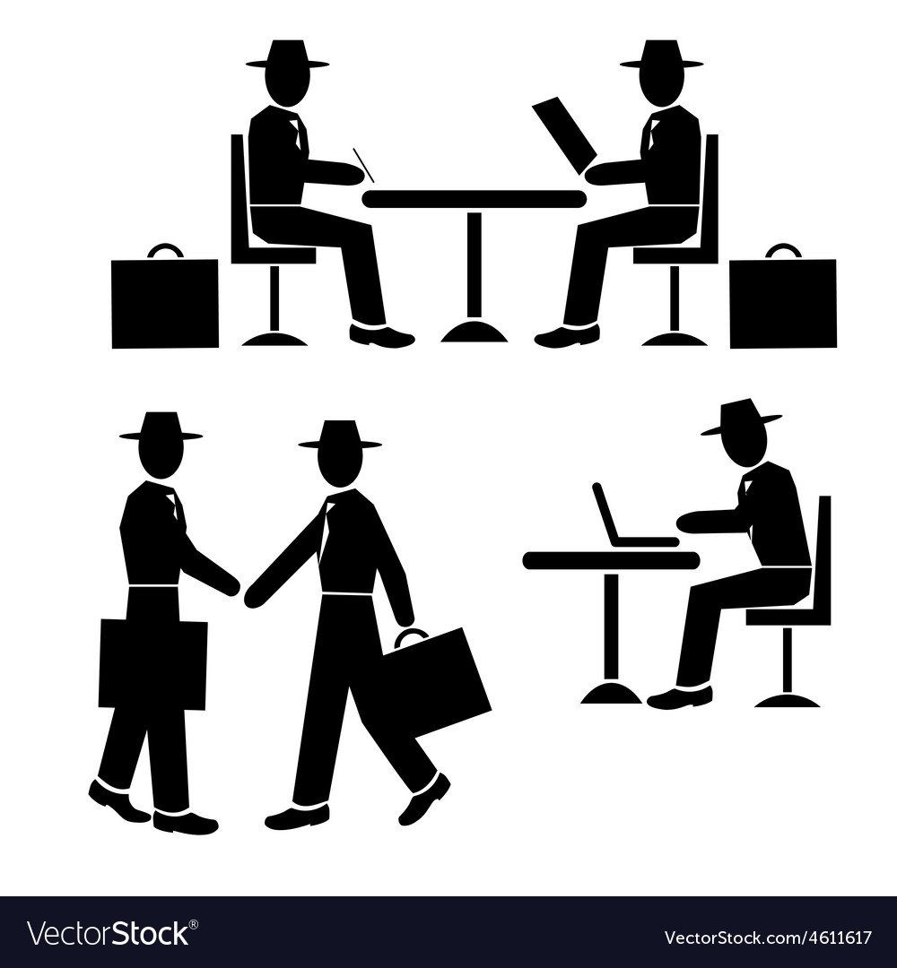 Silhouette businessman at work vector | Price: 1 Credit (USD $1)