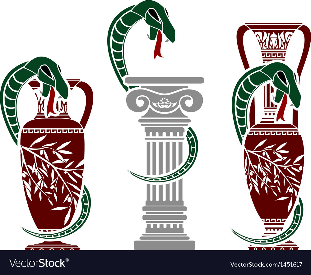 Snakes with jugs vector | Price: 1 Credit (USD $1)
