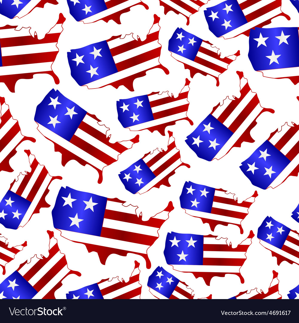 Usa colors map shape celebration seamless pattern vector | Price: 1 Credit (USD $1)