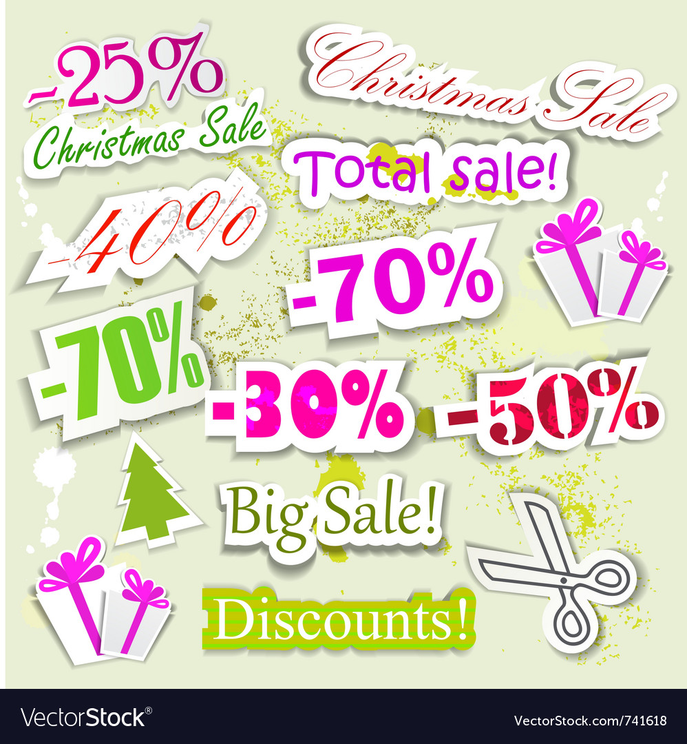 Christmas sale elements vector | Price: 1 Credit (USD $1)