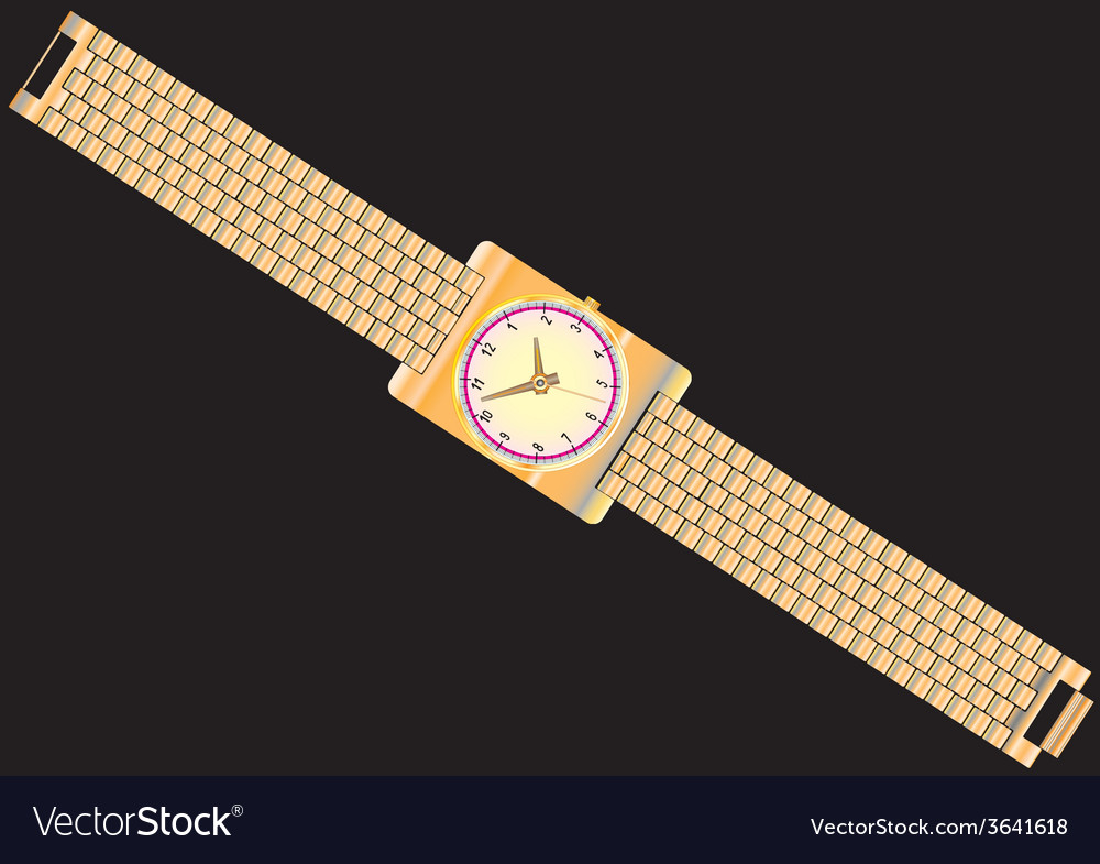 Gold watch vector | Price: 1 Credit (USD $1)