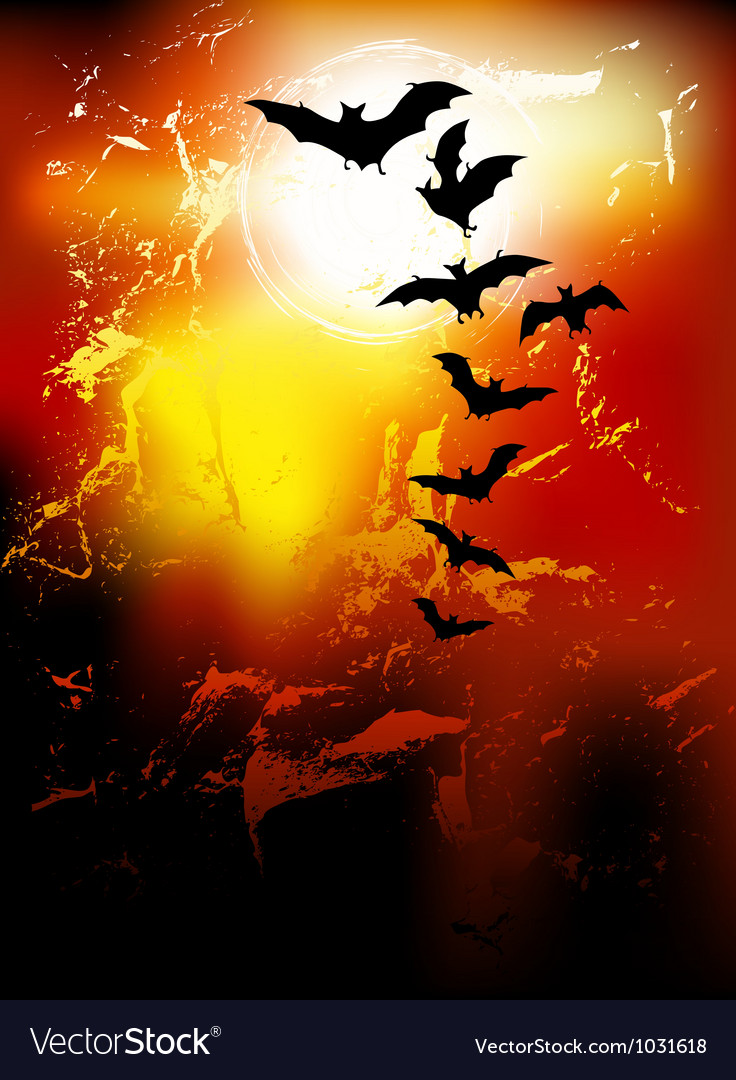 Halloween background - flying bats vector | Price: 1 Credit (USD $1)