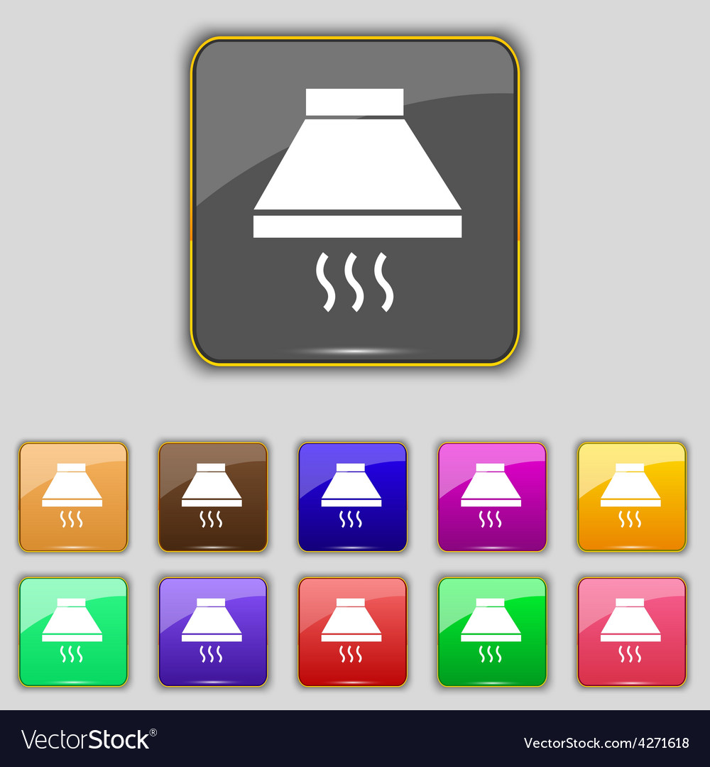 Kitchen hood icon sign set with eleven colored vector | Price: 1 Credit (USD $1)