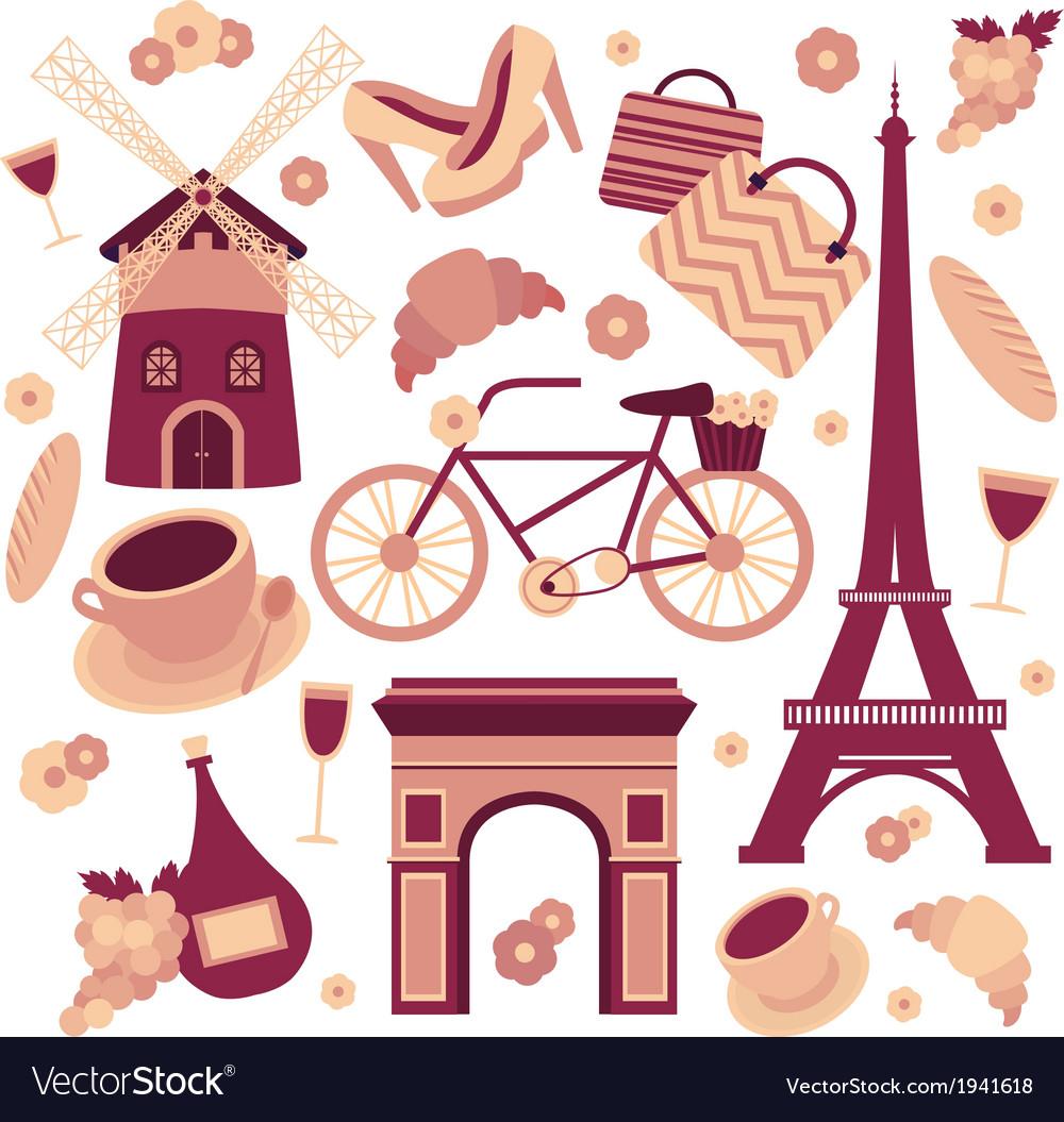 Paris symbols collection vector   Price: 1 Credit (USD $1)