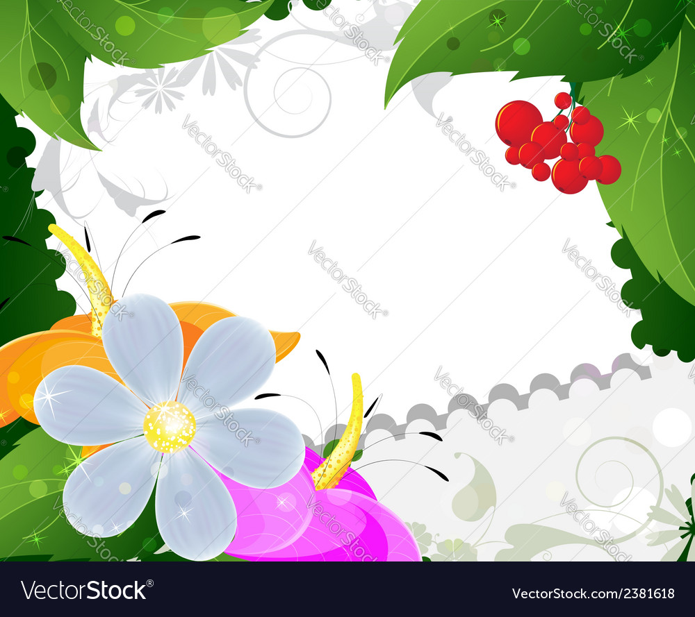 Wild flowers and ripe berries vector | Price: 1 Credit (USD $1)