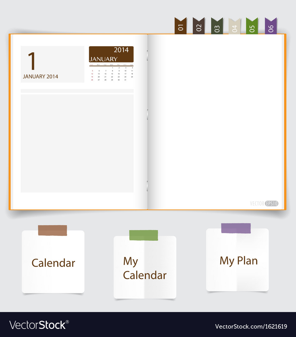 2014 calendar on notebook paper january vector | Price: 1 Credit (USD $1)