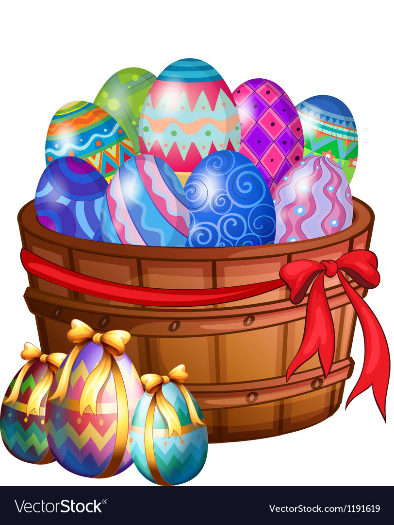 A basket full of easter eggs vector | Price: 1 Credit (USD $1)