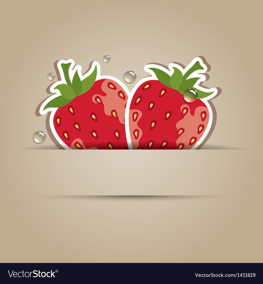Card with paper strawberries vector | Price: 1 Credit (USD $1)
