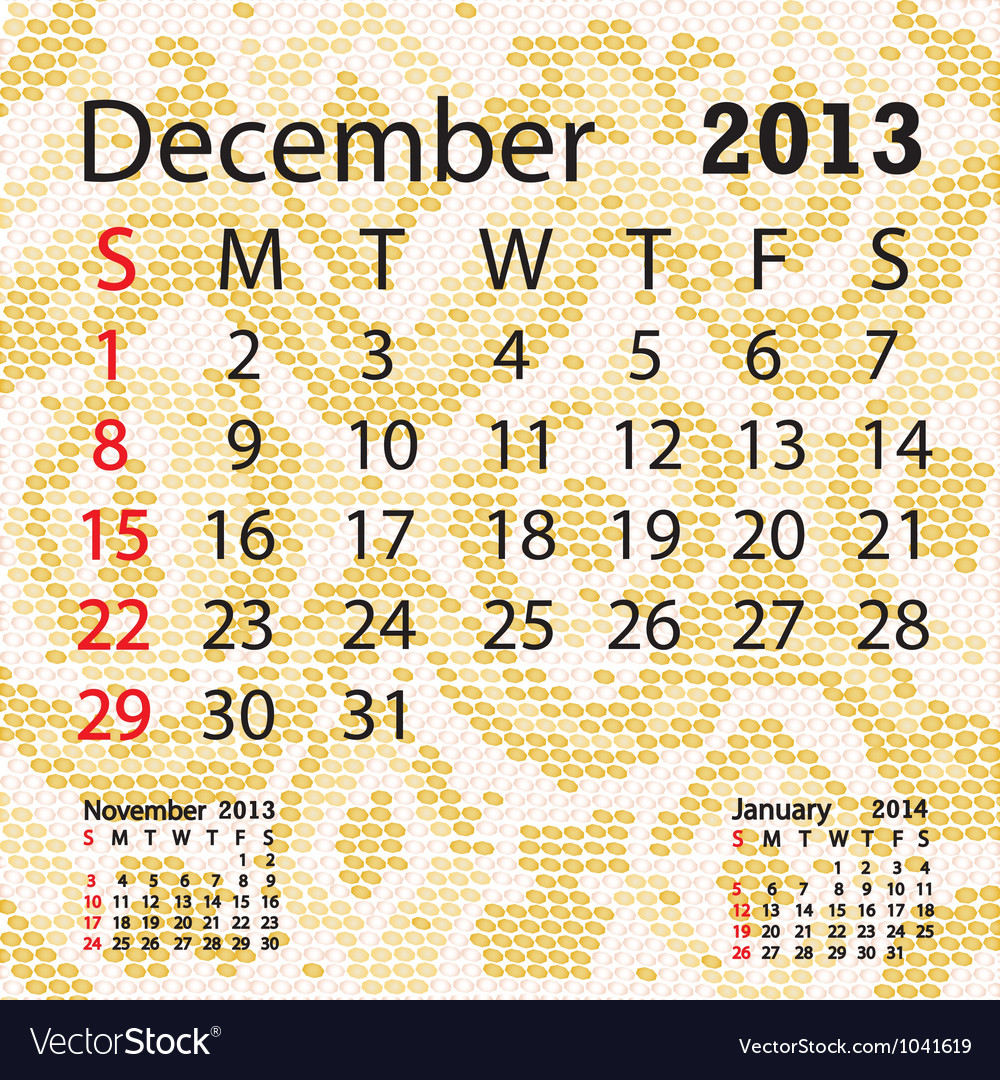 December 2013 calendar albino snake skin vector | Price: 1 Credit (USD $1)