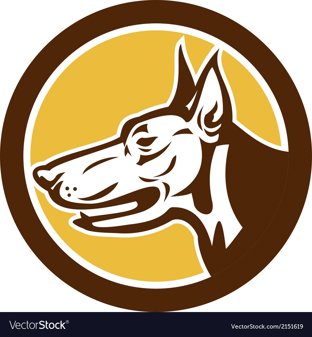 Doberman pinscher head circle retro vector | Price: 1 Credit (USD $1)