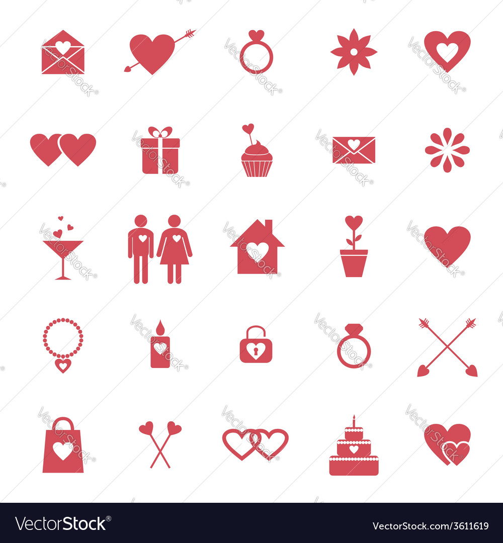 Flat icons for valentine day or wedding design vector | Price: 1 Credit (USD $1)
