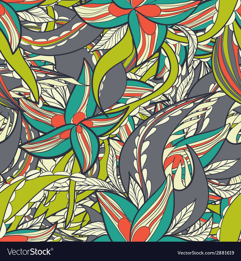 Floral pattern with colorful blooming flowers vector | Price: 1 Credit (USD $1)