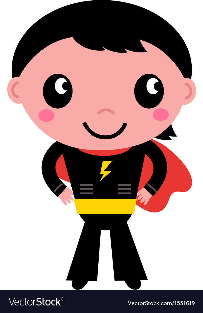 Little cute superhero boy isolated on white vector | Price: 1 Credit (USD $1)