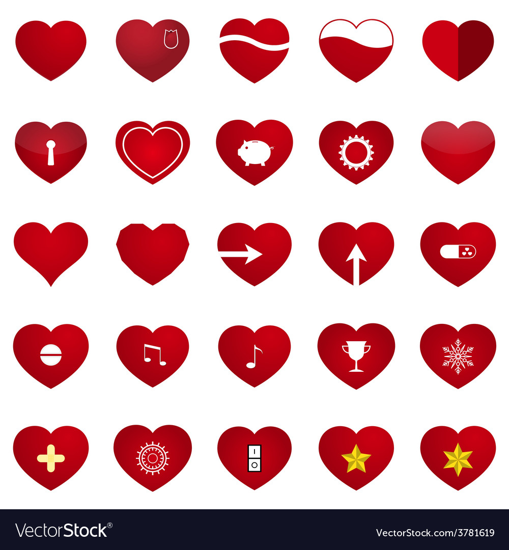 Love heart set vector | Price: 1 Credit (USD $1)