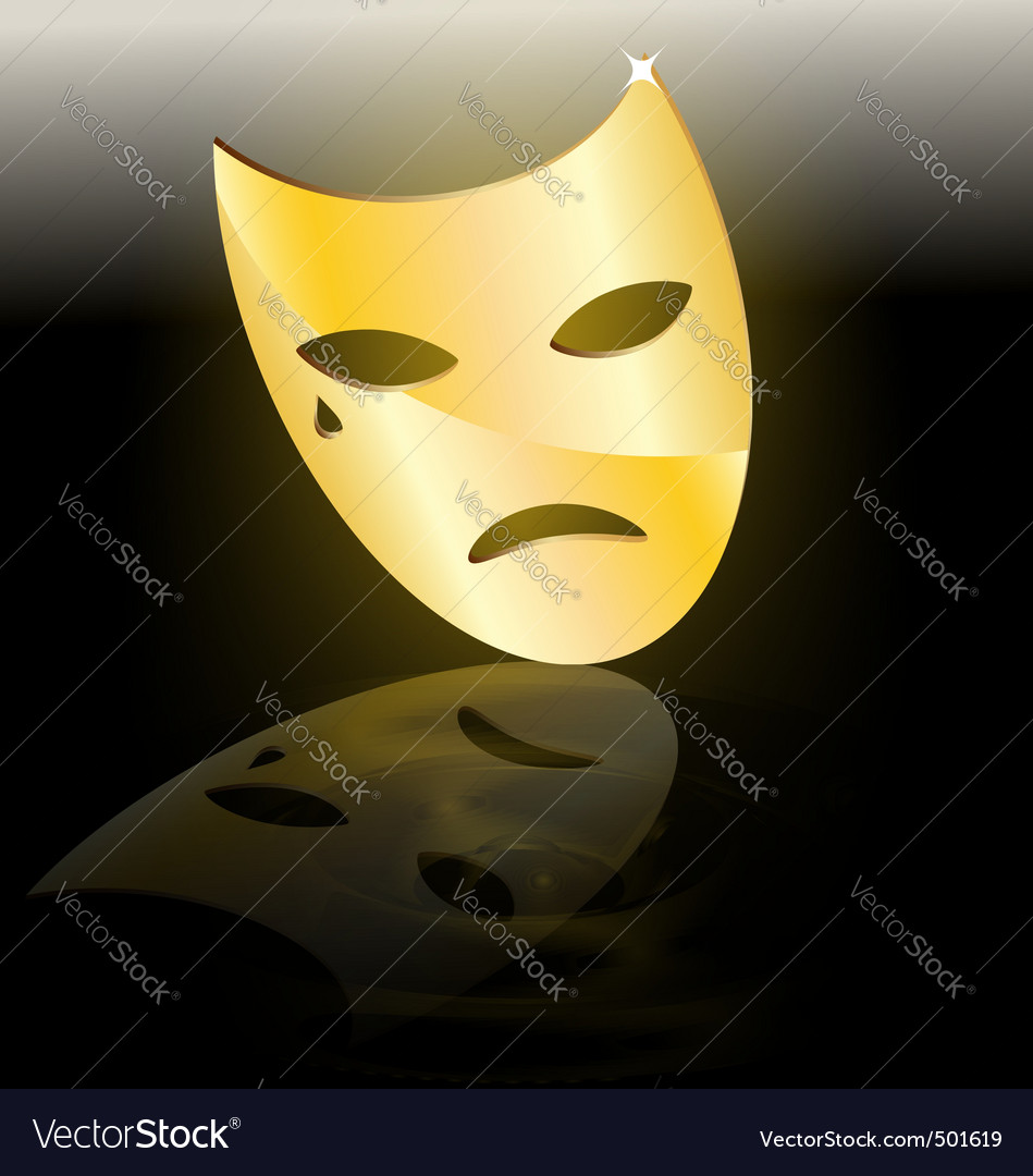 Mask of tragedy vector | Price: 1 Credit (USD $1)