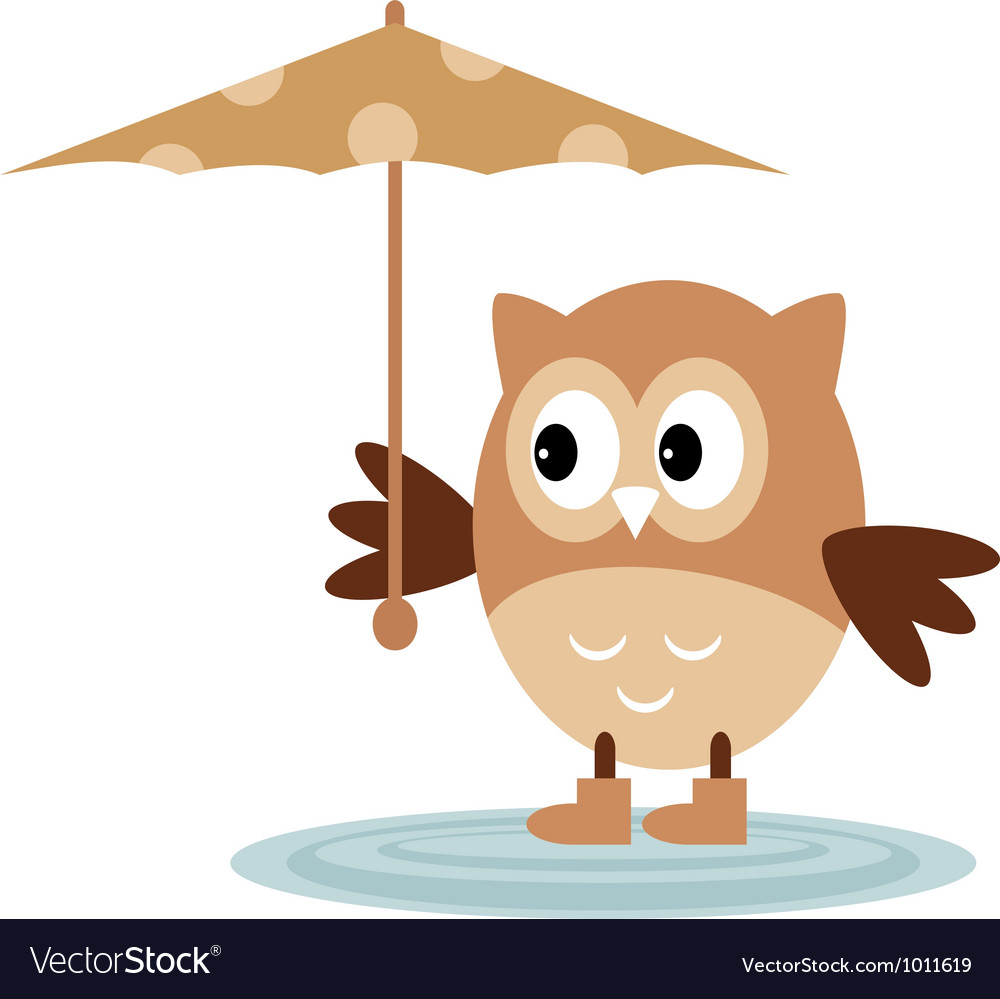 The owl from the rain under an umbrella vector | Price: 1 Credit (USD $1)