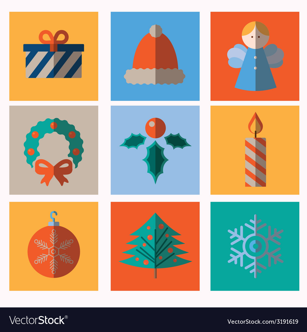 Set of modern style christmas icons vector | Price: 1 Credit (USD $1)