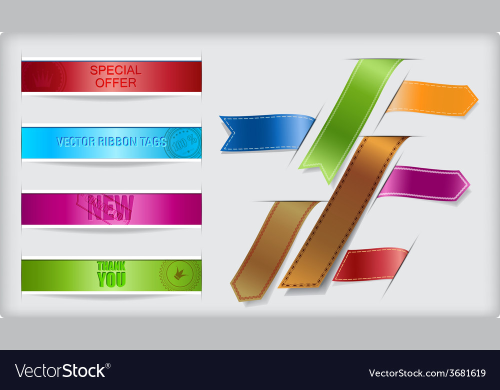 Set of ribbons and banners with paper cuts and vector | Price: 1 Credit (USD $1)