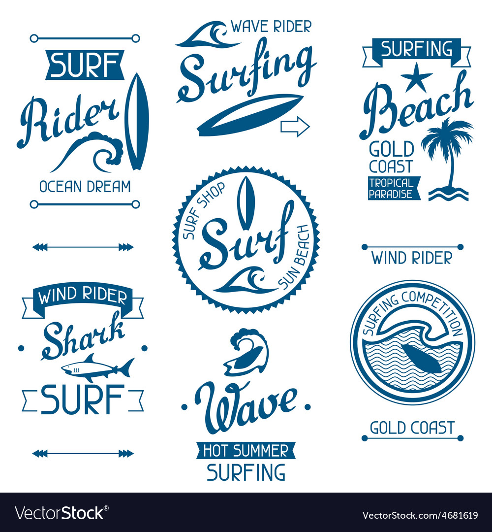 Set surfing labels and emblems on white background vector | Price: 1 Credit (USD $1)