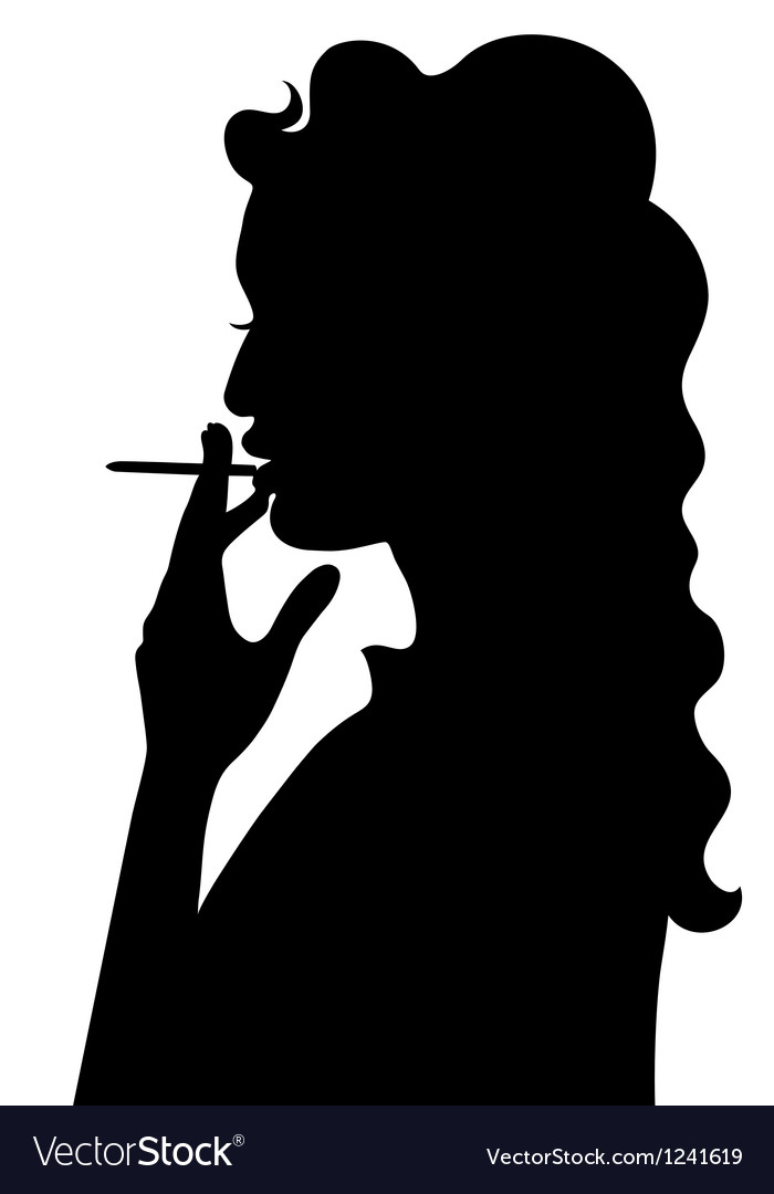 Silhouette of smoking girl vector | Price: 1 Credit (USD $1)
