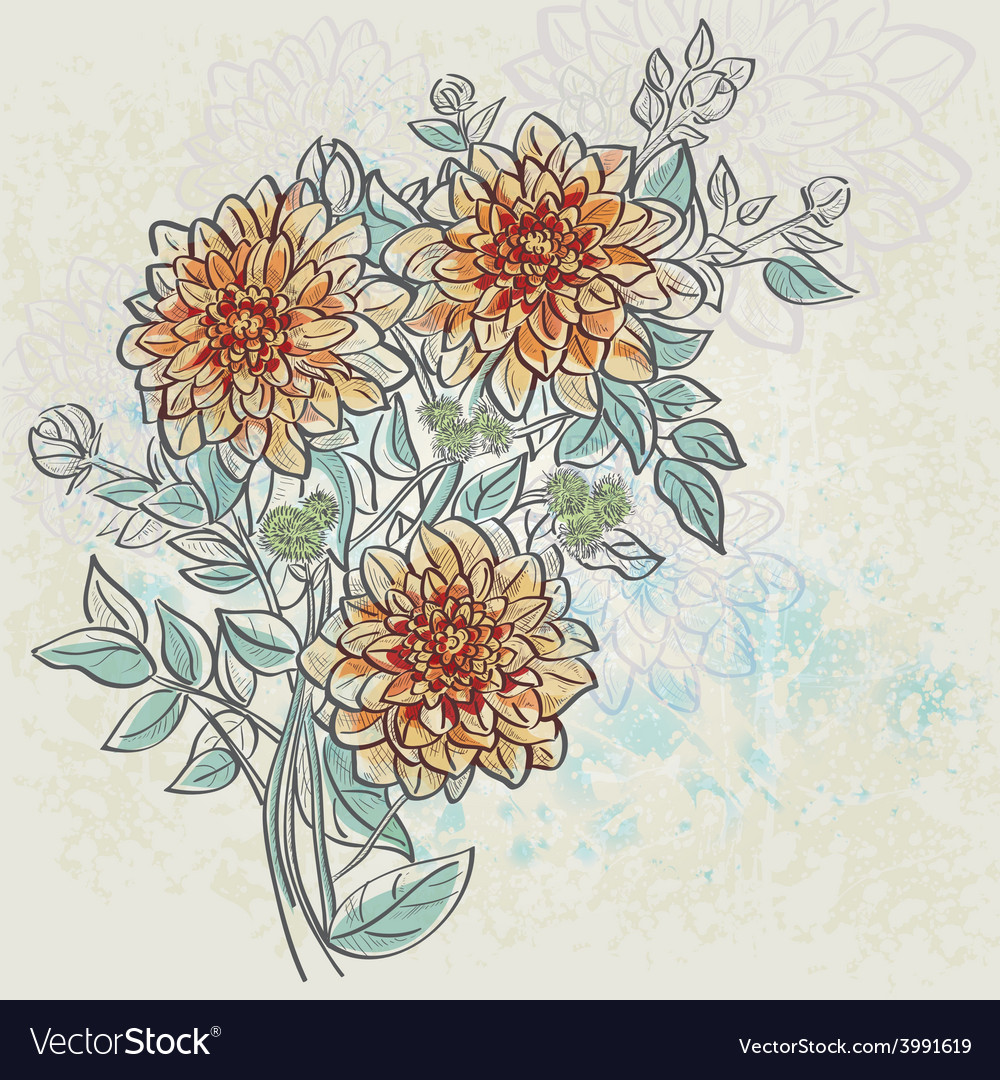 Vintage background with flowers dahlia color vector | Price: 1 Credit (USD $1)