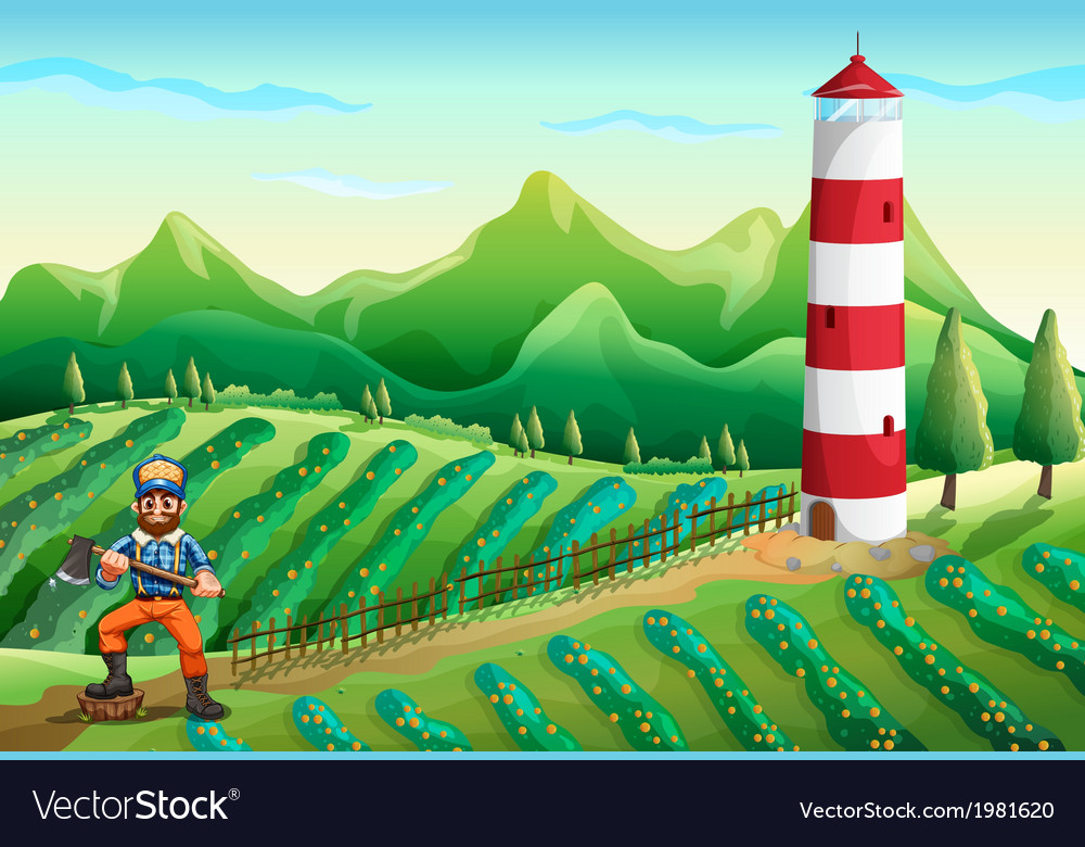 A farm with a tower and a lumberjack vector   Price: 1 Credit (USD $1)