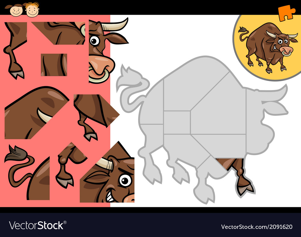 Cartoon bull jigsaw puzzle game vector | Price: 1 Credit (USD $1)