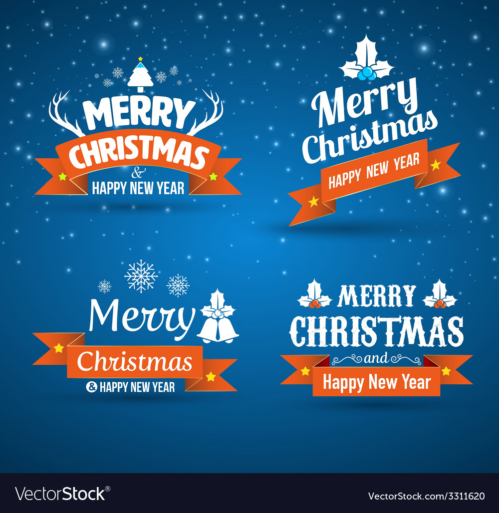 Happy new year merry christmas set vector | Price: 1 Credit (USD $1)