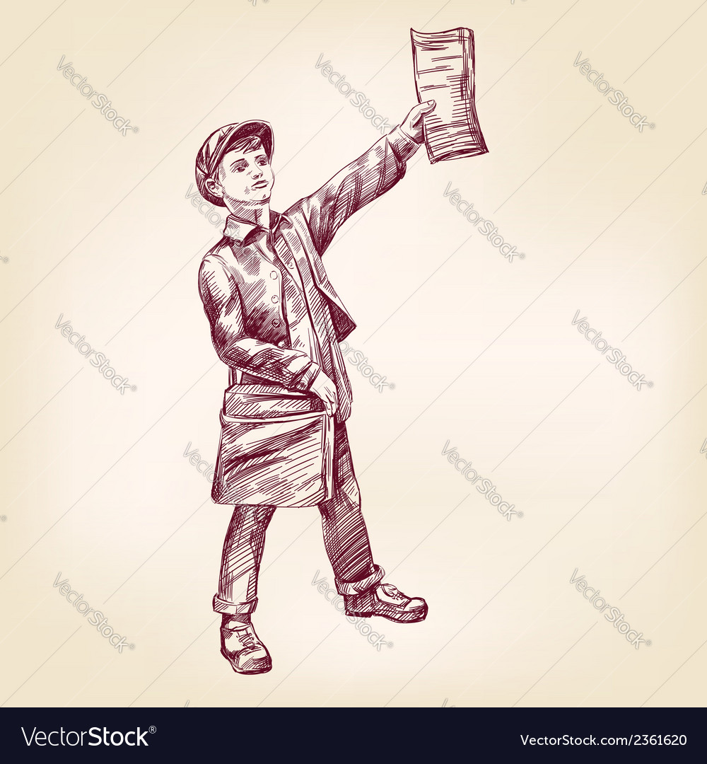 Paperboy selling news papers hand drawn vector | Price: 1 Credit (USD $1)