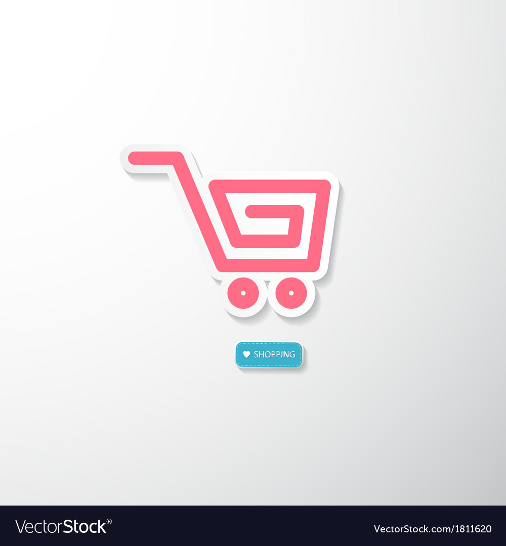 Pink paper cart i love shopping blue tag vector | Price: 1 Credit (USD $1)