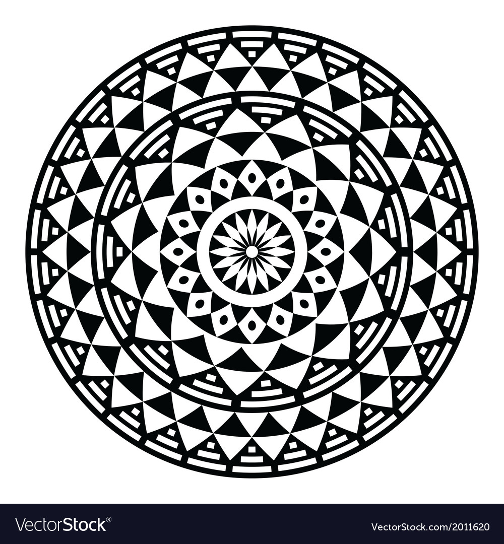 Tribal aztec geometric pattern or print in circle vector | Price: 1 Credit (USD $1)