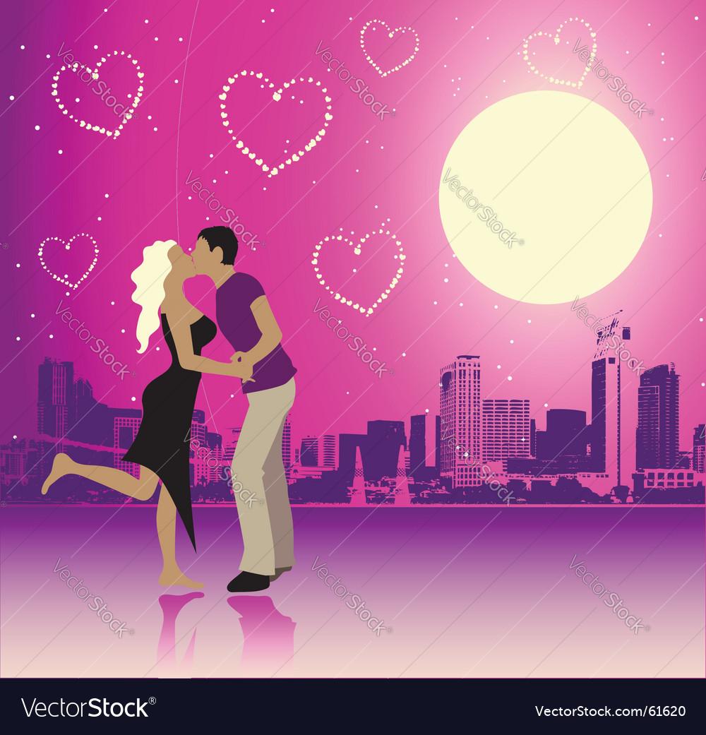 Valentine day urban scene couple vector | Price: 1 Credit (USD $1)