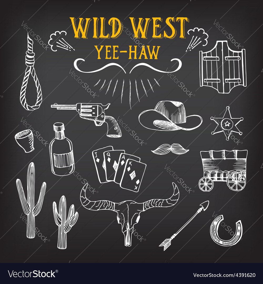 Wild west design sketch icons drawing vintage vector | Price: 1 Credit (USD $1)