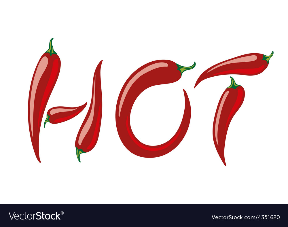 Word hot assembled from red peppers vector | Price: 1 Credit (USD $1)