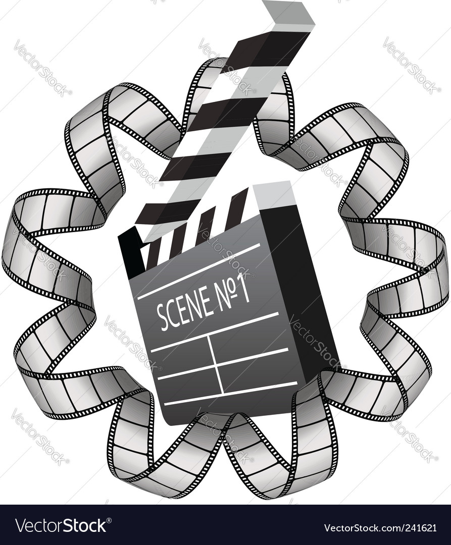 Clapboard and film strip vector | Price: 1 Credit (USD $1)