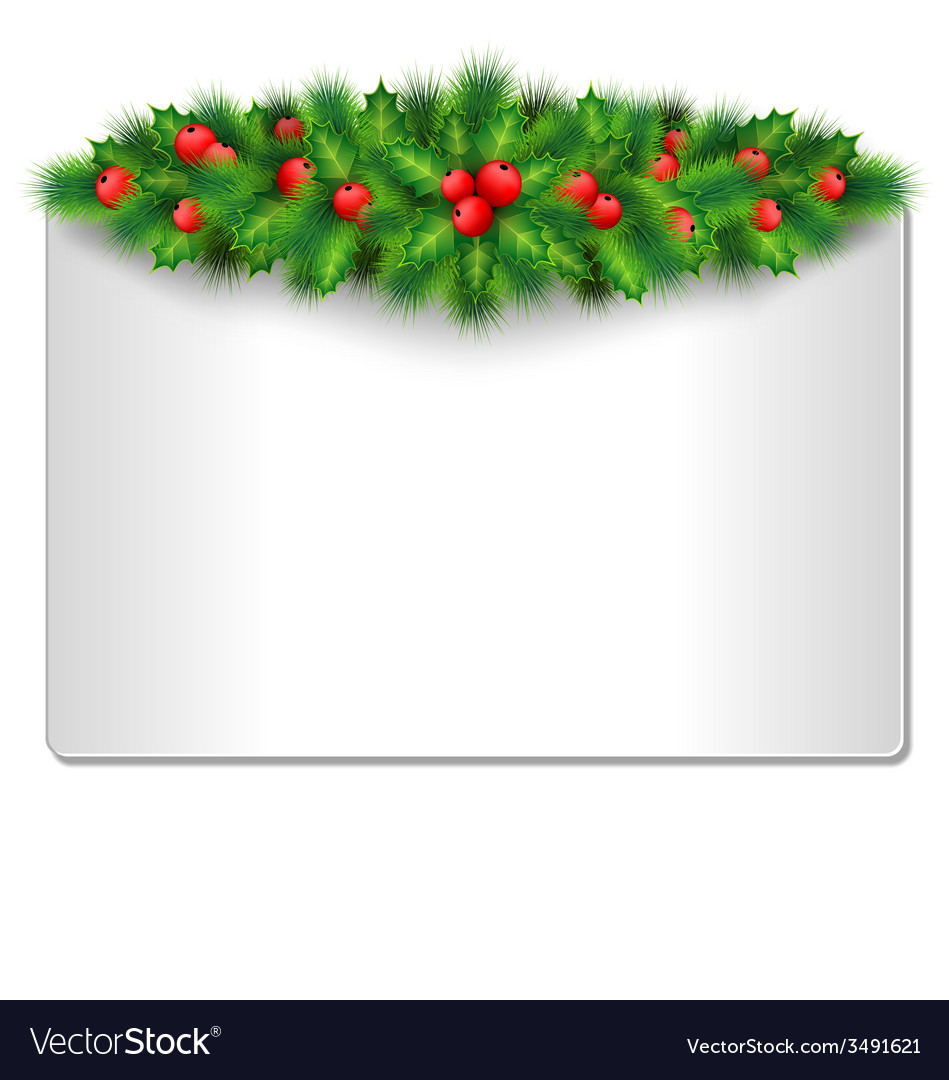 Frame with holly and pine isolated on white vector | Price: 1 Credit (USD $1)