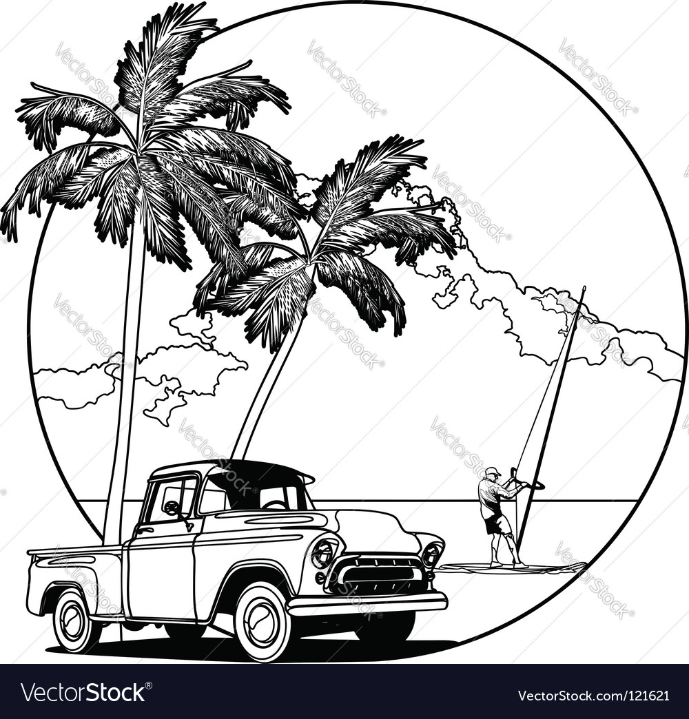 Hawaiian scene vector | Price: 1 Credit (USD $1)