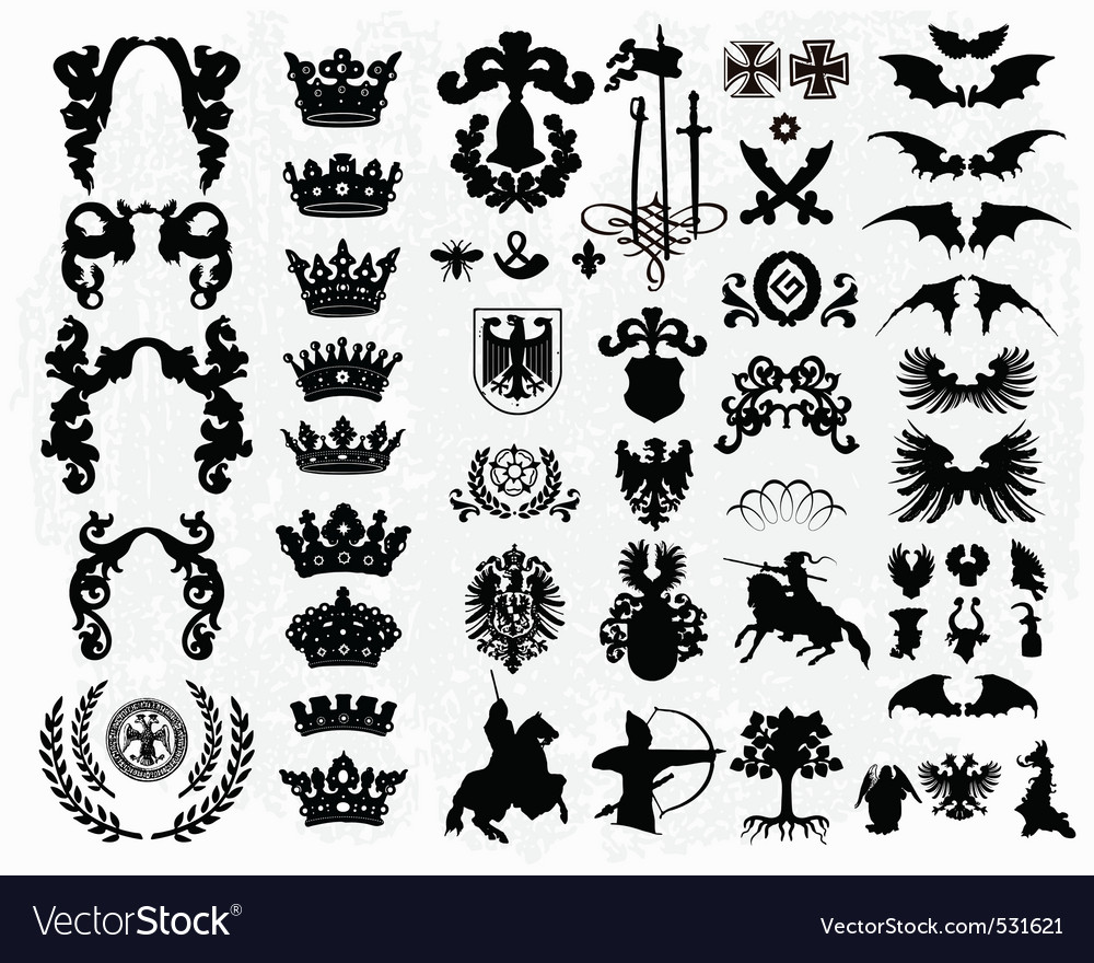 Heraldic silhouettes vector | Price: 3 Credit (USD $3)