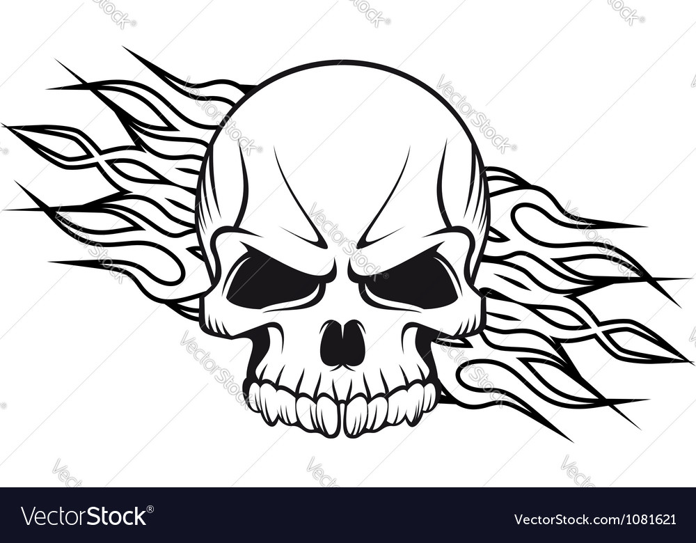 Human skull with flames for tattoo vector | Price: 1 Credit (USD $1)