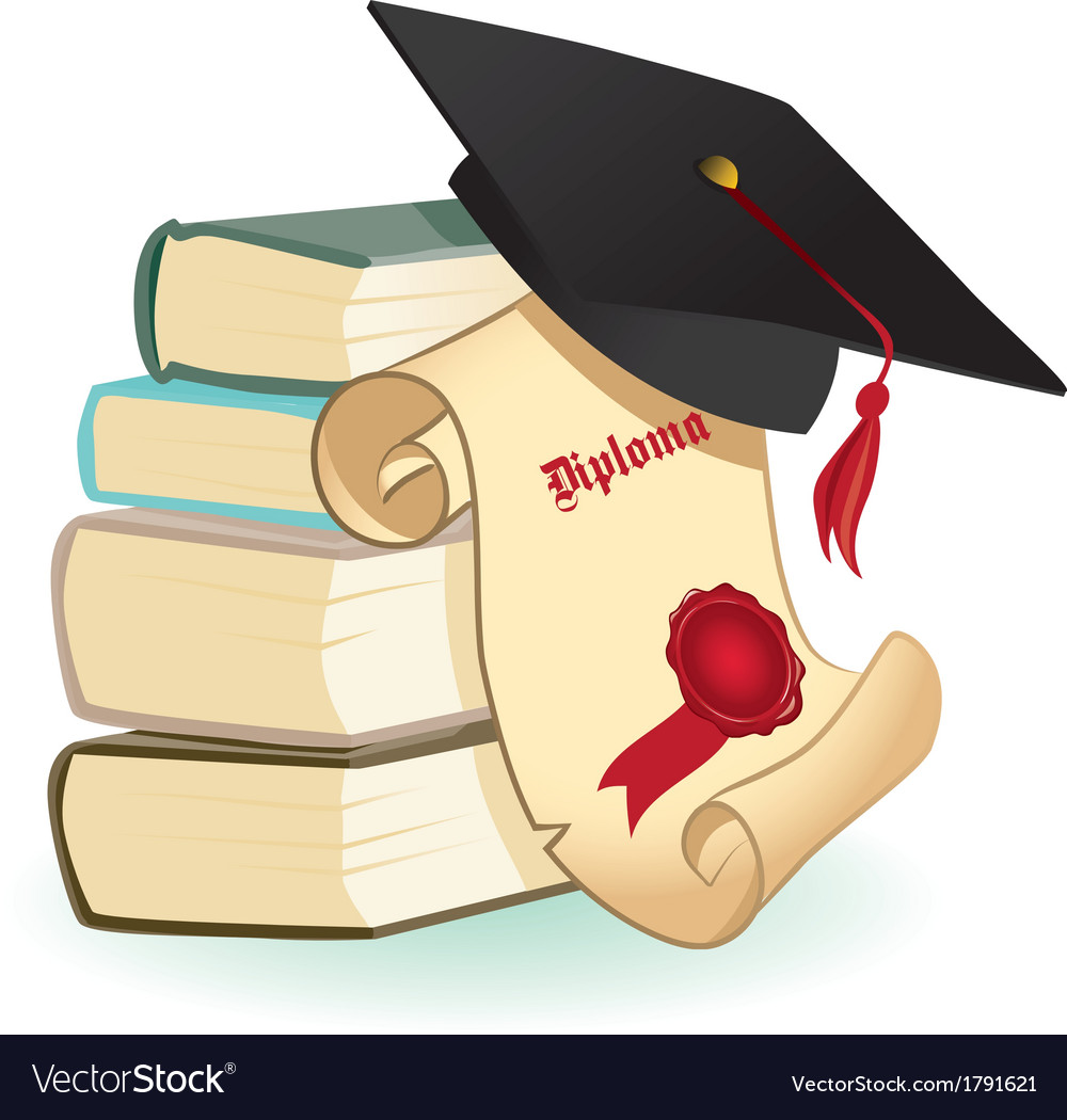 Isolated mortar boards books and diploma vector | Price: 1 Credit (USD $1)