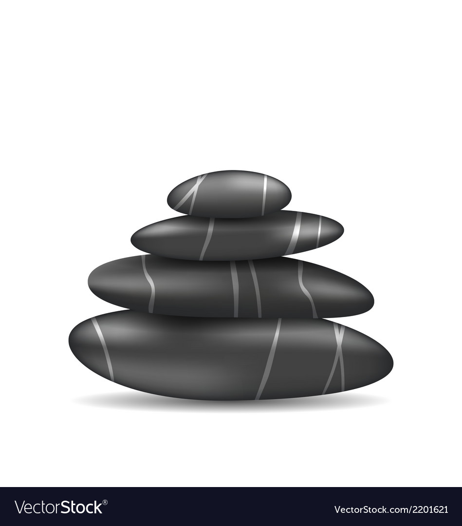 Pyramid zen spa stones isolated on white vector | Price: 1 Credit (USD $1)