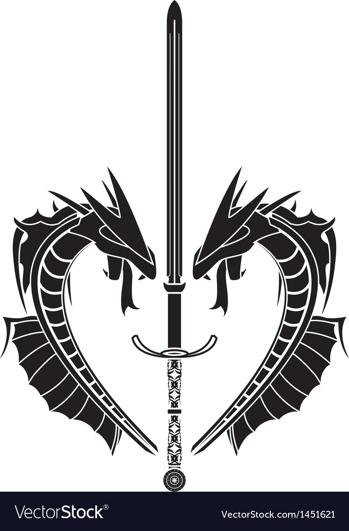 Stencil of dragons and medieval sword vector   Price: 1 Credit (USD $1)