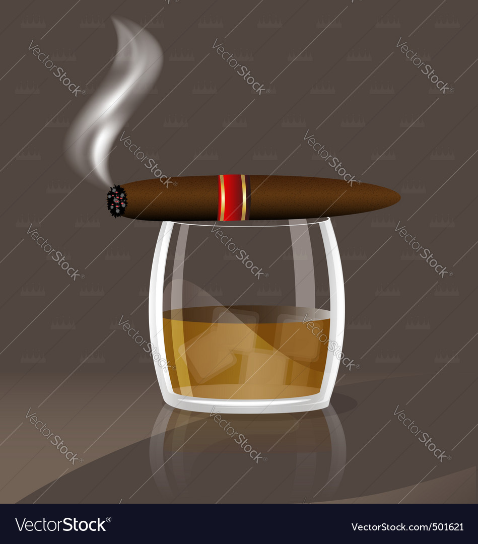 Whiskey and cigar vector | Price: 1 Credit (USD $1)