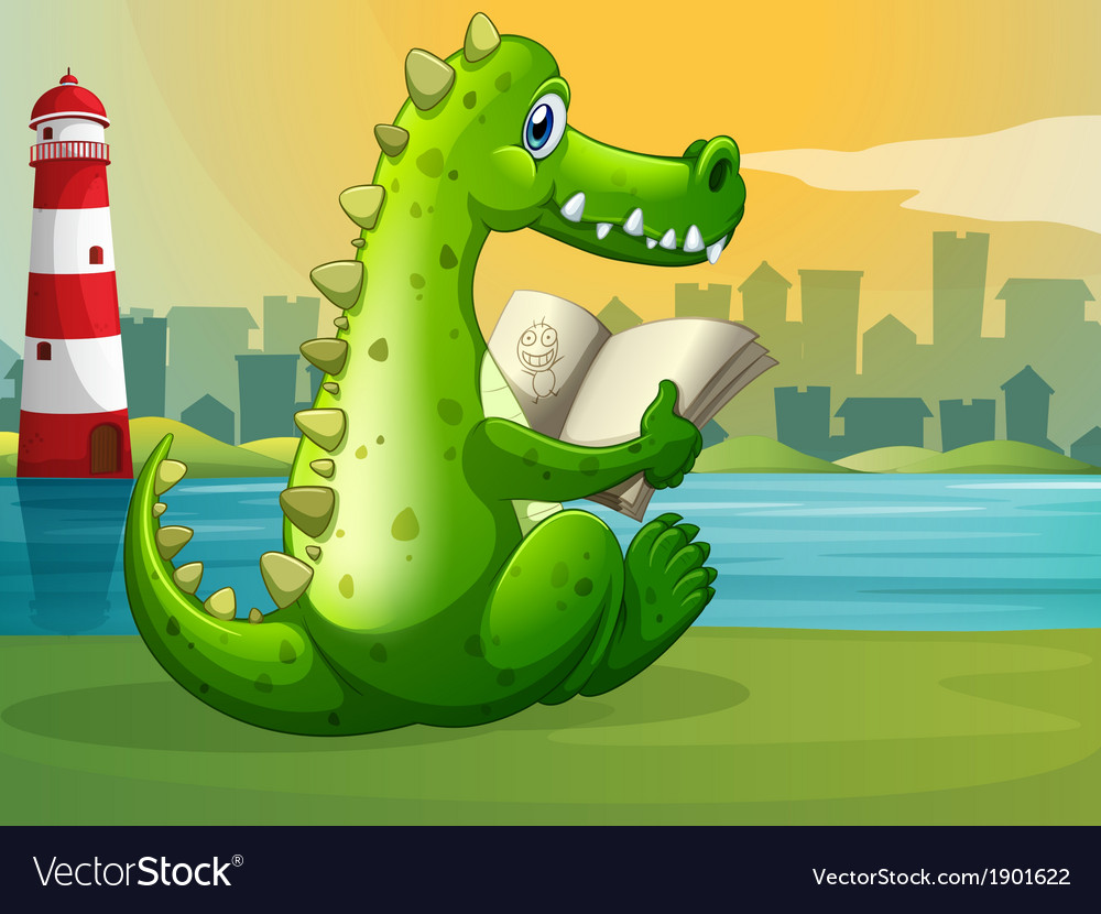 A crocodile reading across the lighthouse vector | Price: 3 Credit (USD $3)
