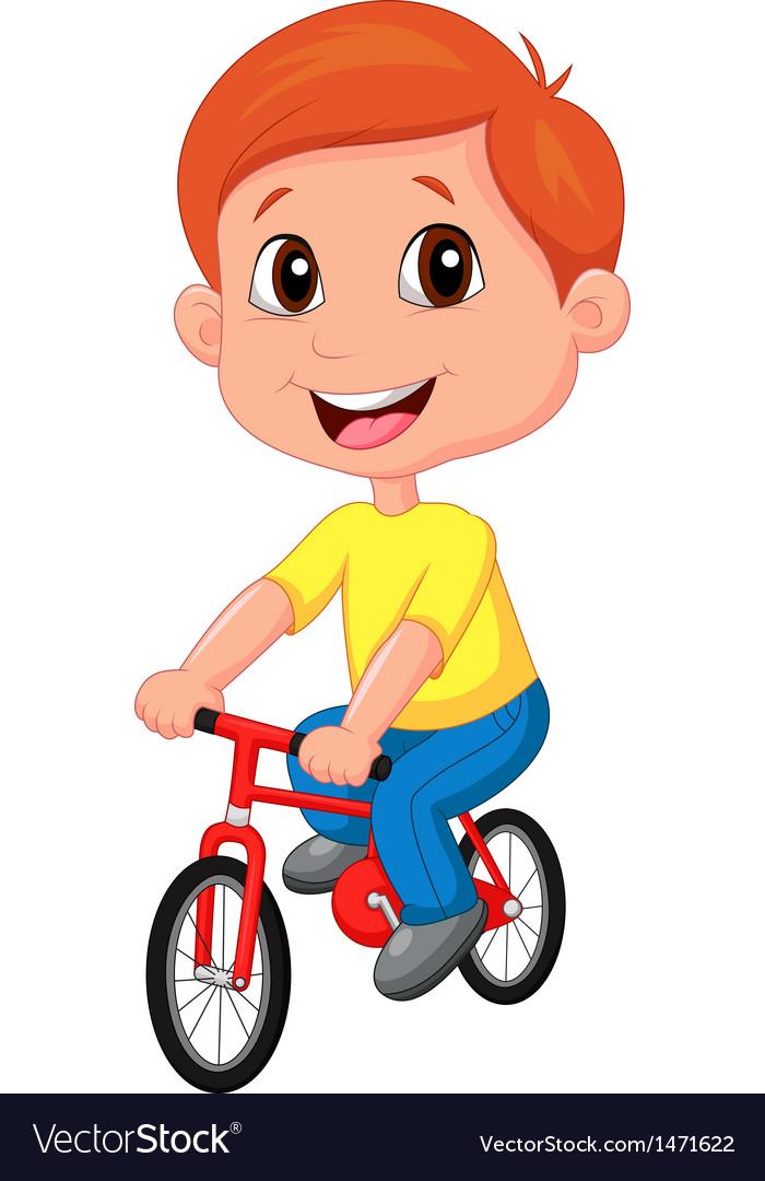 Boy cartoon riding bicycle vector | Price: 1 Credit (USD $1)
